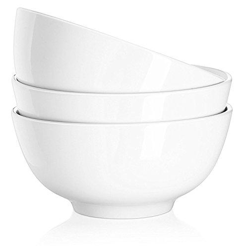 Dowan 18 cm (7 Pouces) Bol en Porcelaine, Bols à Soupe, Bol à Céréales, Capacité 850 ML, Blanc, Lot de 3