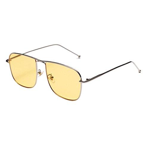 Prettyia Frauen Männer übergroße Vintage Quadratische Sonnenbrille Brillen Designer - Gelb