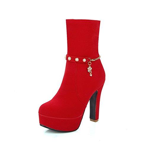 AllhqFashion Damen Mattglasbirne Reißverschluss Niedrig-Spitze Stiefel mit Juwelen, Schwarz, 40