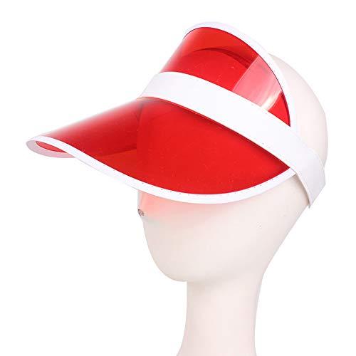 ypypiaol Mode Sommer Outdoor Sports Sonnenschutzkappe, Unisex Klar Kunststoff Sonnenblende Hut für Pub Golf Poker Vegas Kostüm rot
