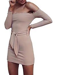 Vestido Coctel Mujer Cortos Elegante Moda Slim Fit Manga Larga Mini Vestido Paquete De Cadera Joven