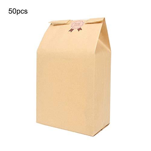 LAMF 50 Stück Papier-Lebensmittelbeutel aus Kraftpapier Brotbeutel mit Fenster, langlebige Brotbeutel für Brot, Backen, 100% recyceltes Braun, Papier, beige, 20 * 12 * 5cm