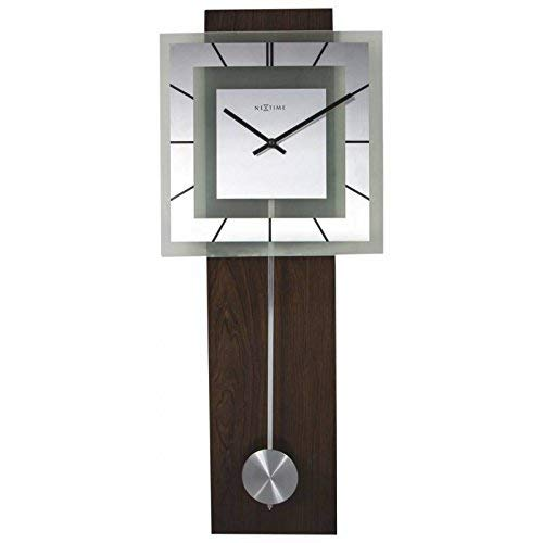 NeXtime 3191.0 Retro Pendulum Square Bois, Marron, 80 x 32 x 6,8 cm