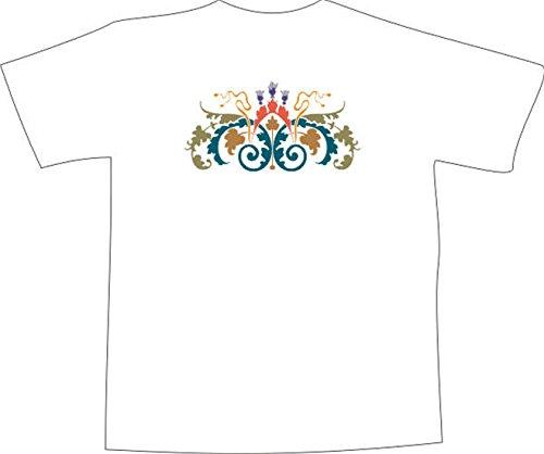 T-Shirt F1073 Schönes T-Shirt mit farbigem Brustaufdruck - schön tribal Blatt Mehrfarbig