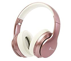 PowerLocus P6 Bluetooth Kopfhörer Over Ear, Over Ear Kopfhörer Kabellos mit Super Bass,20Std. Spielzeit,Mikrofon,Voice Assistant, Passiv Noise Cancelling für iPhone,Samsung,iPad,PC,Laptop,TV-Rose Gold