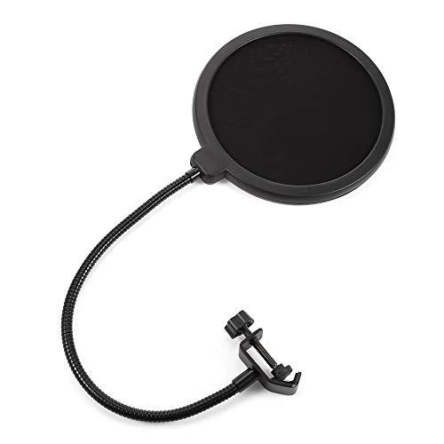 Jinberry 6 Zoll (15.5cm) Doppelschicht Runde Mikrofon Popschutz mit Einstellbarer Stand Clip/Mikrofon Pop-Filter Windschutz Blocker für Studio