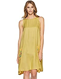 AND Women's Cotton A-Line Dress (SS17AB047DR923YELLOW10)