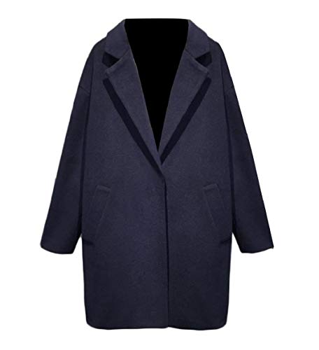 CuteRose Women Trench Pure Colour Classics Leisure Wool Fit Duffle Coat Navy Blue L Navy Wool Toggle Coat
