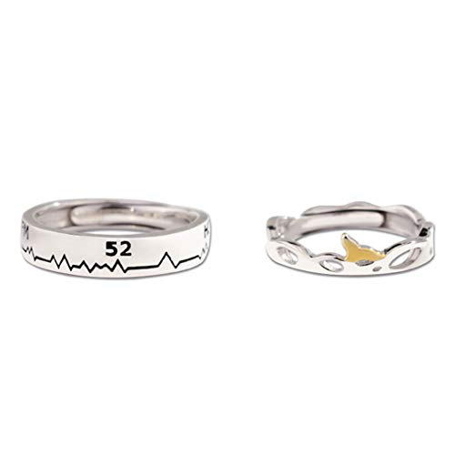 Romantisch Paar Ring 925 Sterling Silber 52 Hz Wal Creative Schmuck Jubiläum Geburtstag Geschenk, Jeder Hat Seine Eigenen 52Hz,Couple (Hören Echos Sie Die)