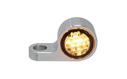 Blinkergehäuse Aluminium Universal für runde 20mm LED Einsätze, Blinkerhalter LED-Blinker Armaturen Lenkerarmaturen Blinker Pin (LED getönt) (Harley Led-blinker-einsätze)