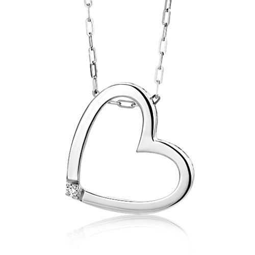 Miore Damen-Halskette mit Herz-Anhänger | Hübsche Kette aus 925 Sterling Silber mit 0,01 ct. Diamant | Halsschmuck 45cm lang, Silber