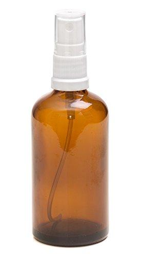Bottiglie 100ml in vetro ambrato - Con diffusore spray in bianco. Per la conservazione di oli essenziali / prodotti per aromaterapia