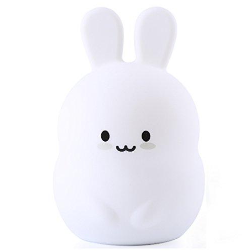 WSXXN Kinder Nachtlicht, LED Cute Silikon Kaninchen Lampe, Kinder Nachttischlampen, Warmweiß/8-Farbwechsel, USB wiederaufladbar, für Baby-Bett/Schlafzimmer/Geburtstagsgeschenk