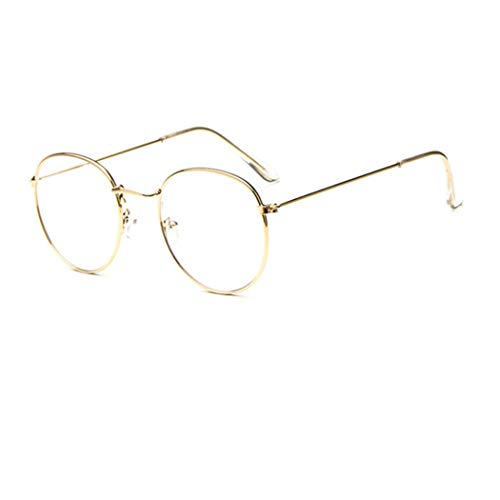 Metall Frame Retro Glasrahmen-Ebenenspiegel Dekobrille Klassisches Unisex Sixties Style Rund Brillen