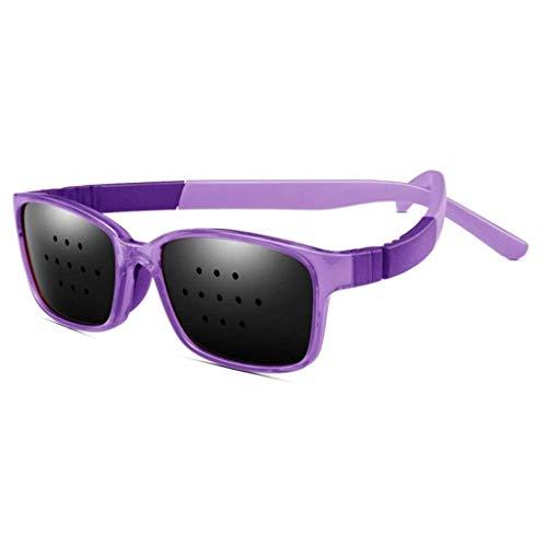 ZENGZHIJIE Lochbrillen, Sehkorrekturbrillen Retikuläre Sehkraftschutzbrillen Anti-Ermüdungs-Brillen Sehkraftverhütung Brillen verbessern (Color : Lila)