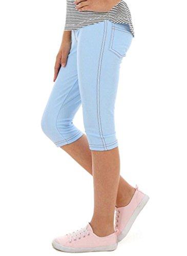 Dykmod Mädchen Leggings Leggins Jeans-Optik 3/4 Capri Frühling Sommer hk337 140 Hellblau (Capri-jeans Mädchen)