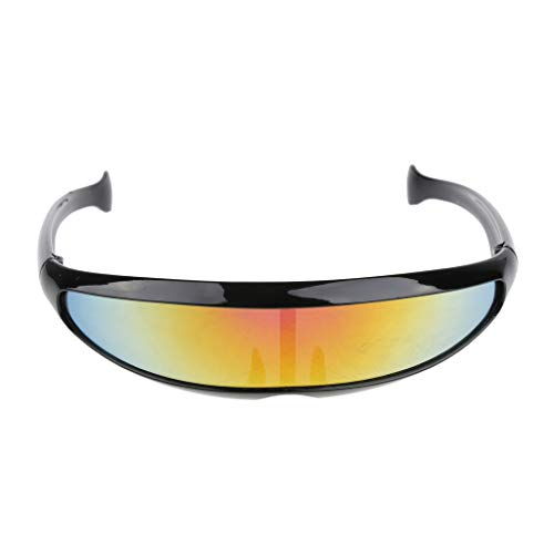 IPOTCH Futuristische Schmale Kyclops Brille Sonnenbrille Partybrille Spaßbrille Zensurbrille - 04