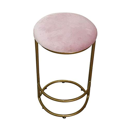 Viktorianischen Esszimmer-möbel (ch-AIR Runder Esszimmerstuhl Barhocker mit samtweichen Kissen.3 Tisch Höhe Bar Stühle, Home Küche Esszimmer Möbel Modern American Style Luxury Style KADJ (Color : Pink, Size : Seat Height 55 cm))