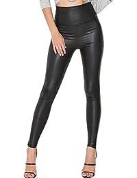 teemzone Mujer Pu Leggings cuero Skinny Elásticos pantalones ca548d7e33e5