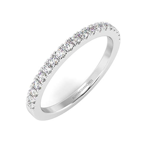 0.15 ct Top Quality F/VS1 Micro Pave Round Diamond Half Eternity Ring in Platinum Size O