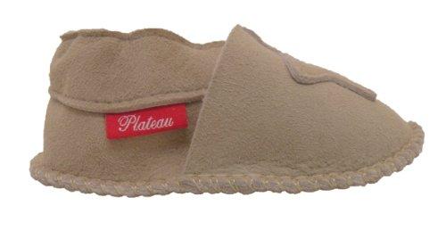 Plateau Tibet - VERITABLE laine d'agneau Bottines Chaussures Chaussons en cuir souple doublure pour bébé garçon fille enfant - 6 COULEURS - Étoile Beige (Sand)