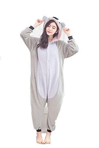Warmes Unisex-Karnevals-Kostüm für Kinder, Einhorn Eule Zebra Giraffe Kuh, für Halloween Fest Party, als Pyjama, Tier-Kigurumi-Kostüm für Zoo-Cosplay, Einteiler - Small - Koala Grigio