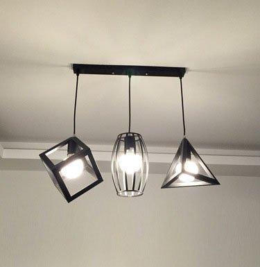 Luckyfree Fer à Repasser industriel rétro Pendentif Cages chambre à coucher Cuisine Restaurant Bar Cafe d'éclairage Lampe de couloir lustre,trois