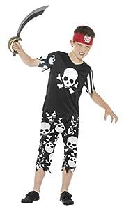 Smiffys Disfraz de Pirata Terrible para Chico, Blanco y Negro, con Camiseta, Pantalones
