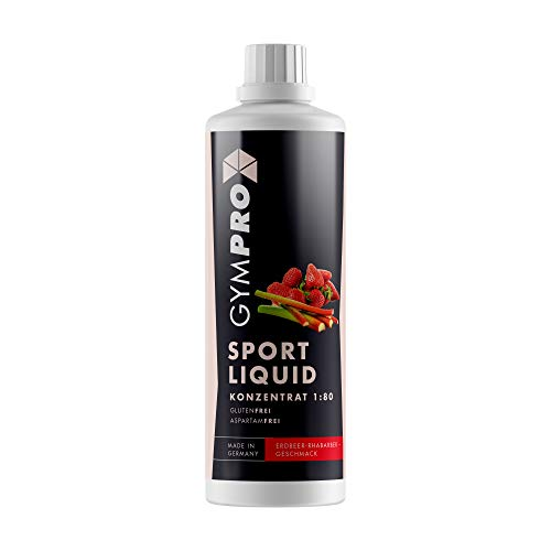 GymPro - Sport Liquid, Fitnessgetränk Konzentrat (1000ml) Lower Carb Drink, Sirup Getränke Konzentrat in Flasche mit L-Carnitin, Magnesium und Vitaminen für Fitness und Sportdrinks (Erdbeer Rhabarber)