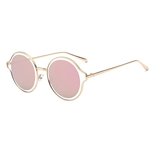 SOJOS Futuristic Double Circle Round Full-Rim Metal Frame with Ultra Flat Lens for Women and Men SJ1058