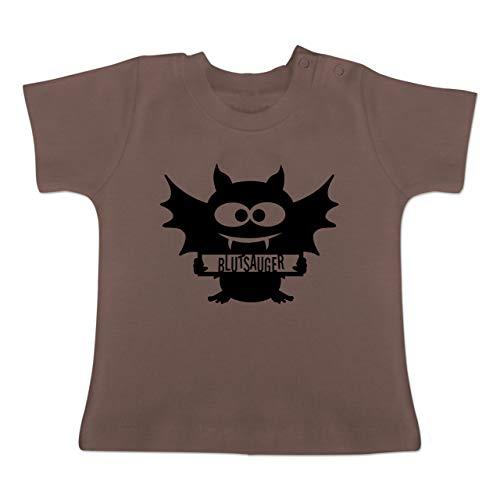 Anlässe Baby - Fledermaus - 1-3 Monate - Braun - BZ02 - Baby T-Shirt Kurzarm (2019 Pt Halloween 1)
