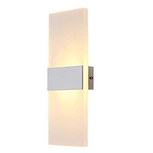 Lightess 6W LED-Wandleuchten Innen aus Aluminium Kreative minimalistische für Wohnzimmer,Schlafzimmer,Arbeitszimmer,Hotel,Flur,LED-Acrylwandlampe,Warmweiß