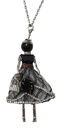 Halskette mit Anhänger, Puppe, großes Kleid, Grau und Schwarz, goldfarbene Kette.