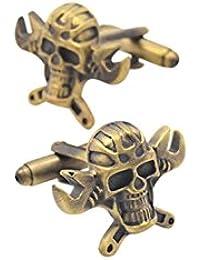Bishiling Mode Manschettenknöpfe Herren Hochzeit Edelstahl Totenkopf Schraubenschlüssel Kreuz Manschettenknöpfen Hemd Bronze