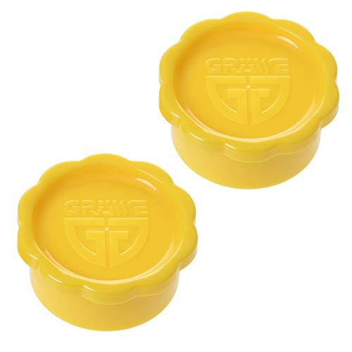 GRÄWE 2 Stück Ersatz-Verschlüsse GELB für Glaskaraffe geeignet für Sodastream-Glasflaschen Modell Penguin (nicht Champagnerverschluss) + Crystal