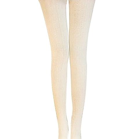Vertvie Damen Thermo Strick Stumpfhose Leggings aus Baumwolle mit Unendlichkeit Muster Super Stretch (One Size,