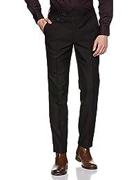 Park Avenue Solid Synthetic Black Slim Fit Trouser