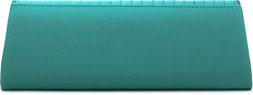 VINCENT PEREZ Borsetta, Borsa a tracolla, Pochette di raso increspato con strass e tracolla rimovibile (120cm) smeraldo