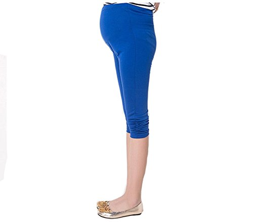 Bold N Elegant Women's Blue Maternity wear Casual Capri Pregnancy Pants with Adjustable Elastic Waist
