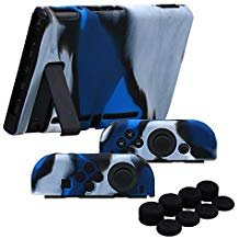 YoRHa Handgriff Silikon Hülle Abdeckungs Haut Kasten für Nintendo Switch/NS/NX Joy-Con controller und Tablette x 3 (Camouflage blau) Mit Joy-Con aufsätze thumb grips x 8 - Silikon-tabletten-kasten