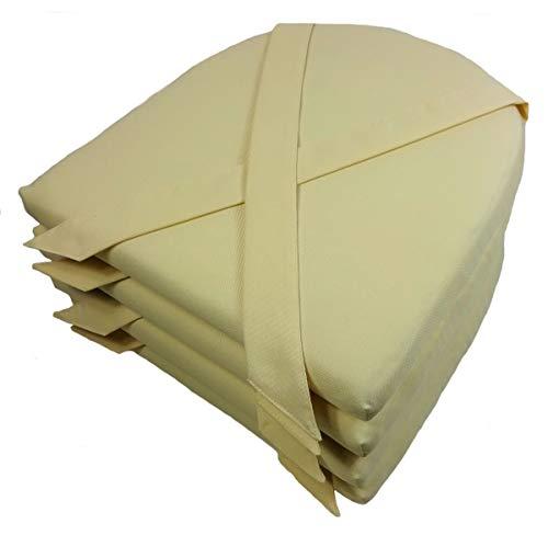 Rattani Set 4 x Stuhlkissen/Sitzkissen Marina halbrund mit Schleife 42 x 45 cm Dicke 5 cm, Fb. Natur, Polyester