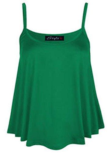 Neuf Pour Femmes Uni Swing Gilet Débardeur Chasuble Cami Femmes Grande Taille Évasée taille UK 8-24 Vert - Vert jade