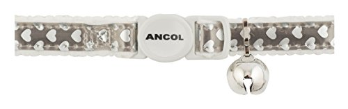 Ancol Reflective Gloss Hearts Safety Cat Collar, SILVER