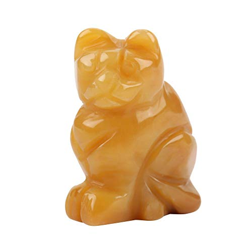 Neufday 1.5IN buntes natürliches Material, das glückliches Katzen-Form-Steinlandschaftskätzchen schnitzt(Topas) (Blauer Topas Katze)