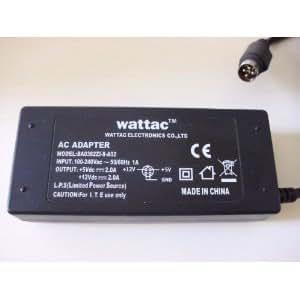 WATTAC BA0362ZI-8-A02 AC POWER ADAPTER 5V 2A 12V 2A 4 broches CONNEXION DIN pour LaCie WD WATTAC ET AUTRES Disques durs externes avec une connexion à 4 broches DIN * VÉRITABLE *