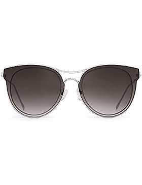 Gafas de Sol Ojos de Gato Lentes Redondos Planos Claro Anteojos de Metal Mujer Espejo