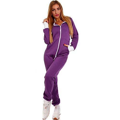 Crazy Age Basic Jumpsuits Ganzkörperanzug Einteiler One Piece Schlafanzug Overall Damen Jumpsuit Kuschelig und warm (XL, Lila)
