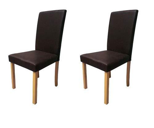 SAM® 2-er Set Polster-Stuhl, Esszimmer-Stuhl in dunkelbrauner Antik-Optik, Stuhlbeine buchefarbig, massiver Design-Stuhl in Wildlederoptik für Küche und Esszimmer [53257653] -