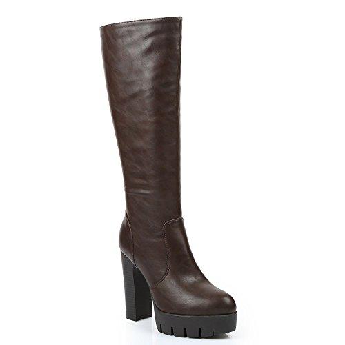 Ideal Shoes–Stiefel à talon Dick Kunstleder Transferdruck Braun