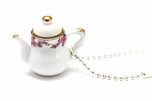 Miniblings Kaffeekanne Teekanne Kette Tee Kaffee 80cm Kanne Porzellan rund weiß